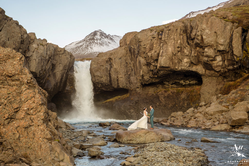 East Iceland Hiking Elopement Couple at a Waterfall