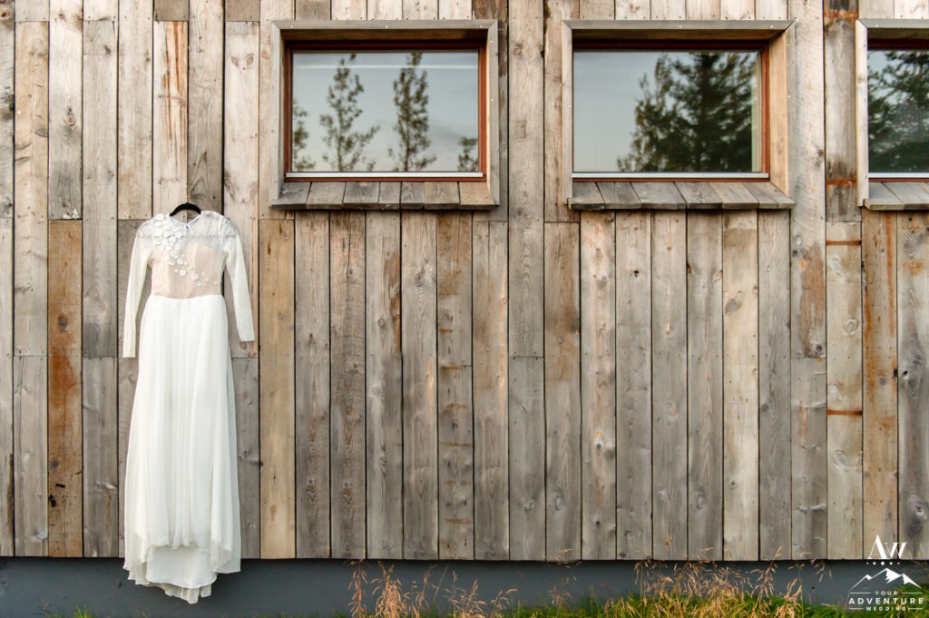 Iceland wedding dress hanging at Hotel Borealis