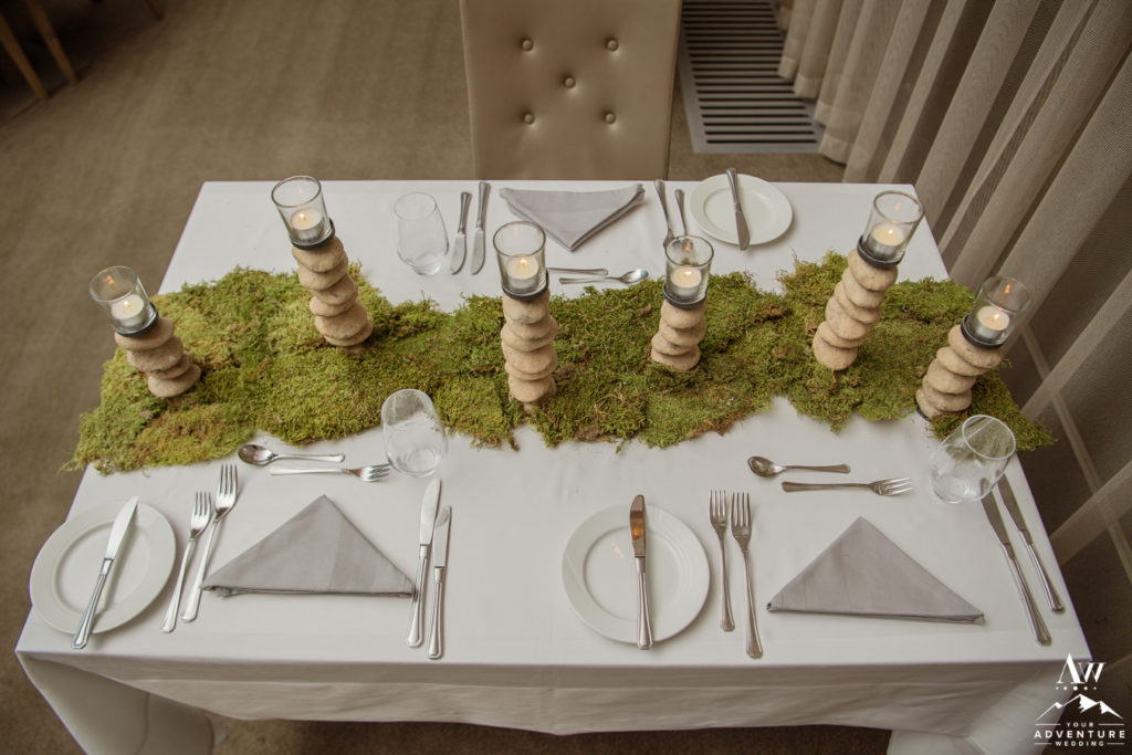 Iceland wedding rentals moss and rock candles