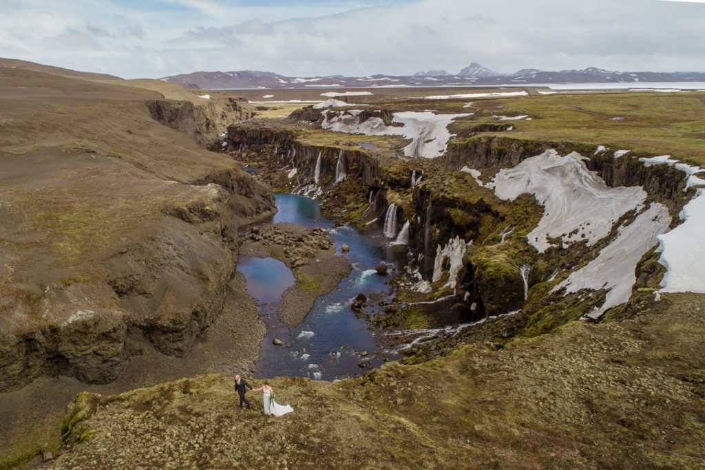 Iceland Elopement Couple exploring a waterfall