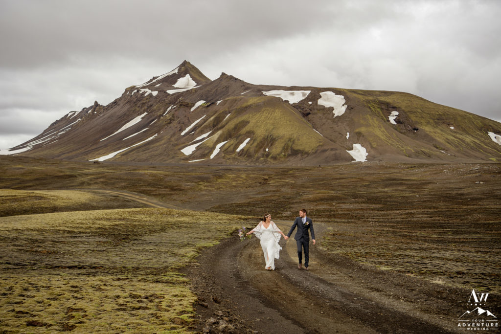 Couple walking in the Iceland Highlands in June