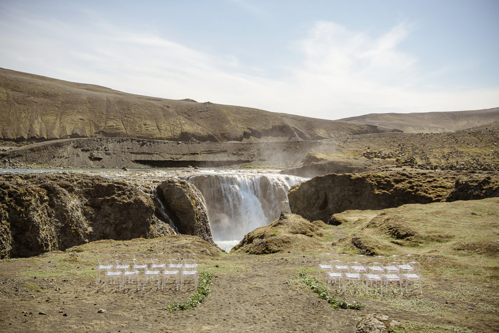 Iceland Wedding Ceremony Setup at a waterfall