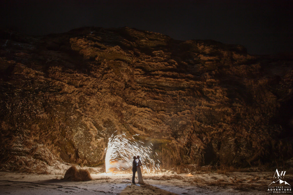 Iceland Wedding Couple during winter with fireworks