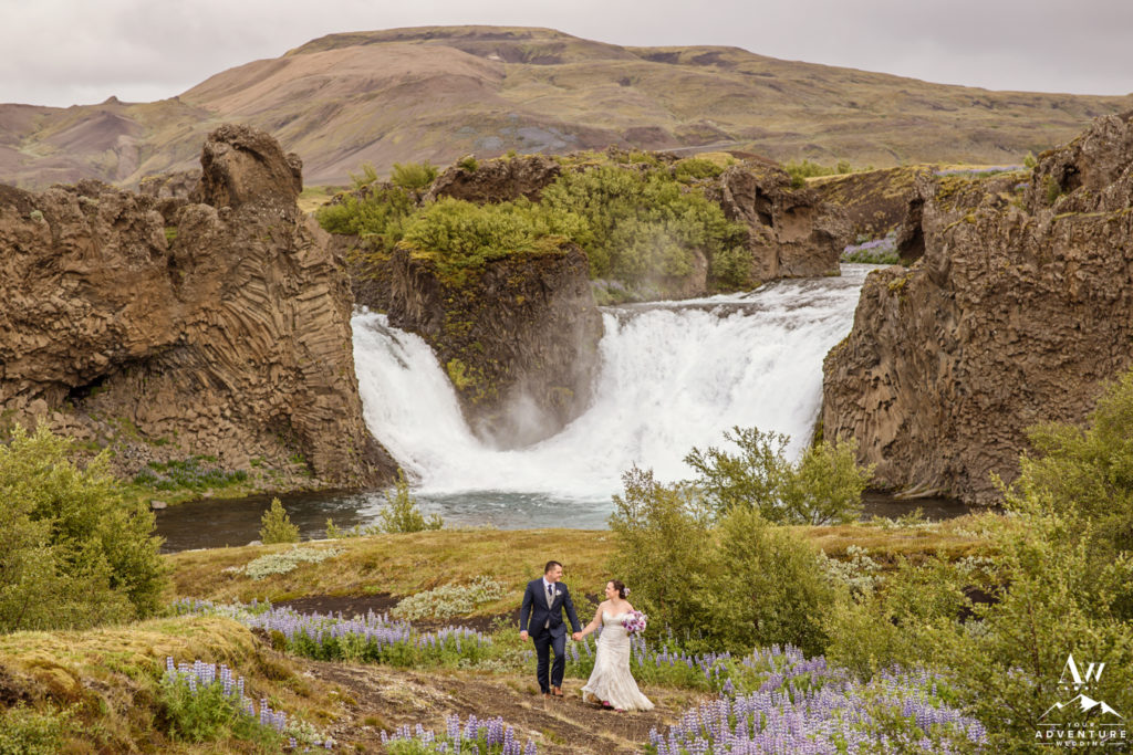 Iceland Wedding Couple at Hjálparfoss Waterfall
