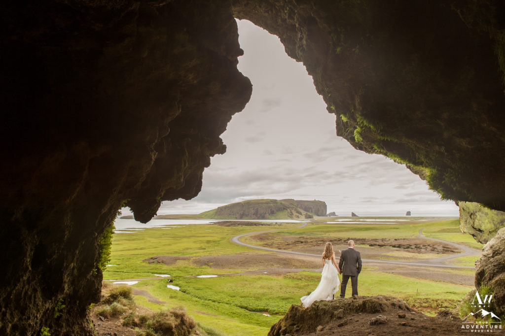 Proposing in a Cave in Iceland overlooking Dyrholaey