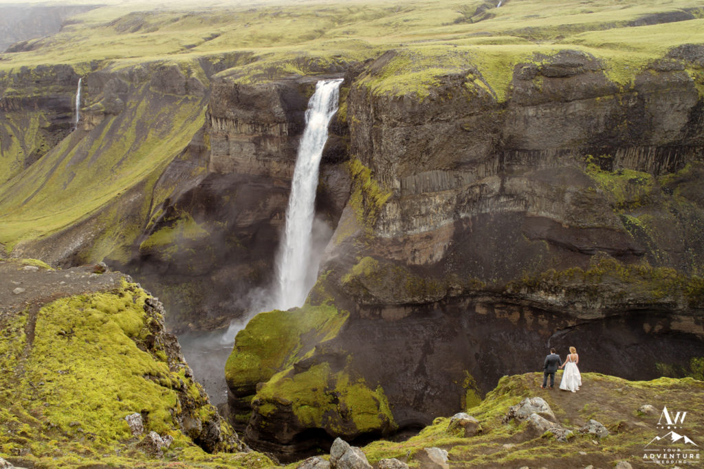 Iceland Wedding Couple at Haifoss Waterfall