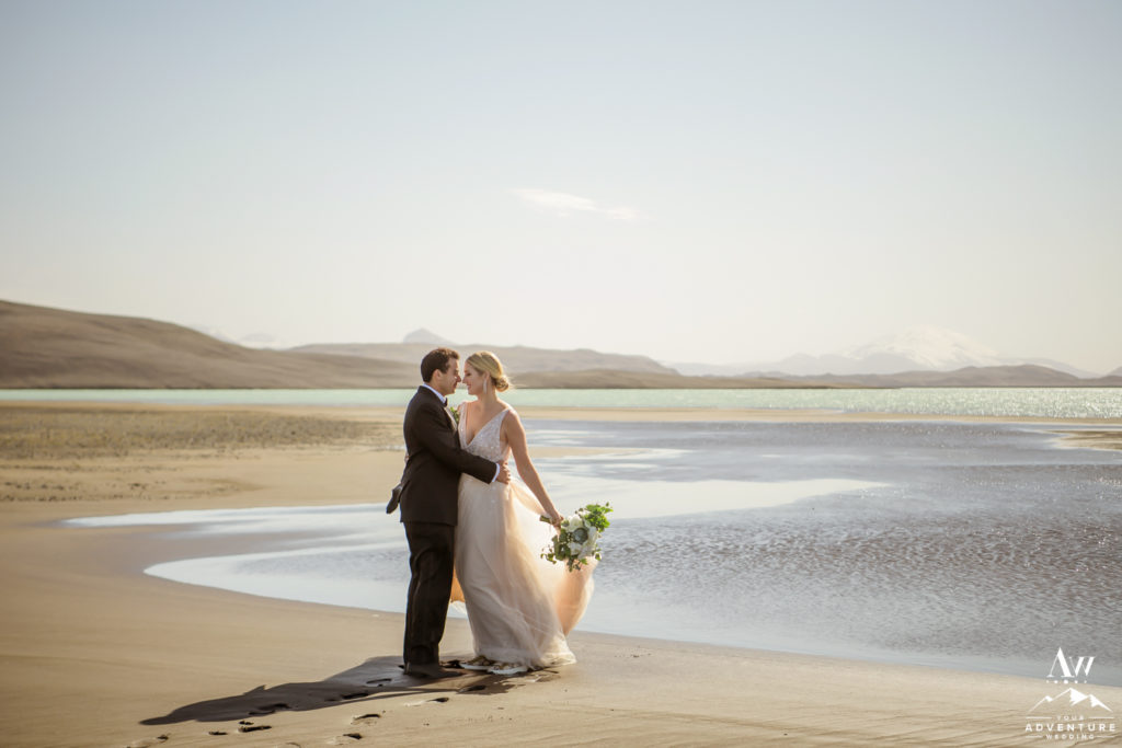 Romantic Iceland Summer Wedding Couple on a beach