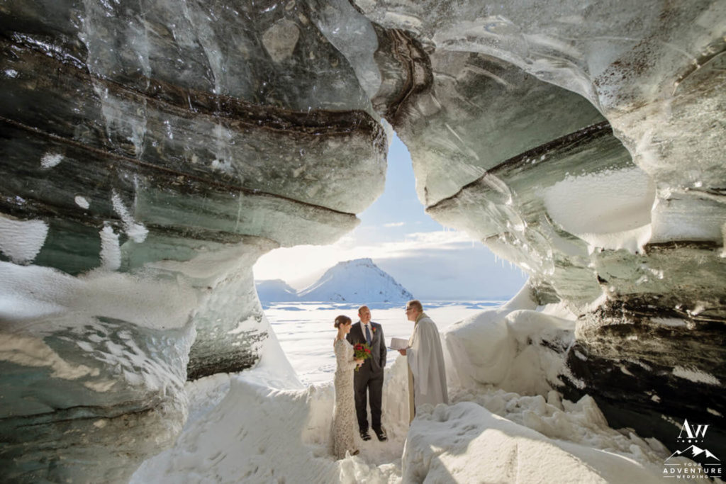 Weather in Iceland Ice Cave Elopement Ceremony