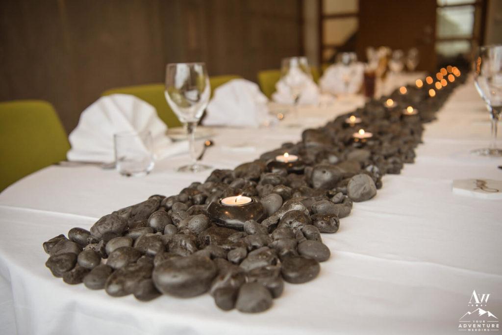 Basalt Rocks as Table Runner for Iceland Wedding