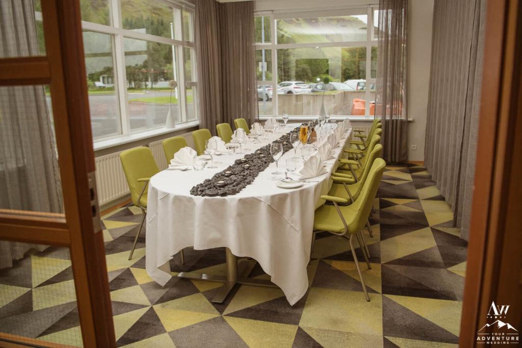 Iceland Wedding Reception Setup at Hotel Klaustur