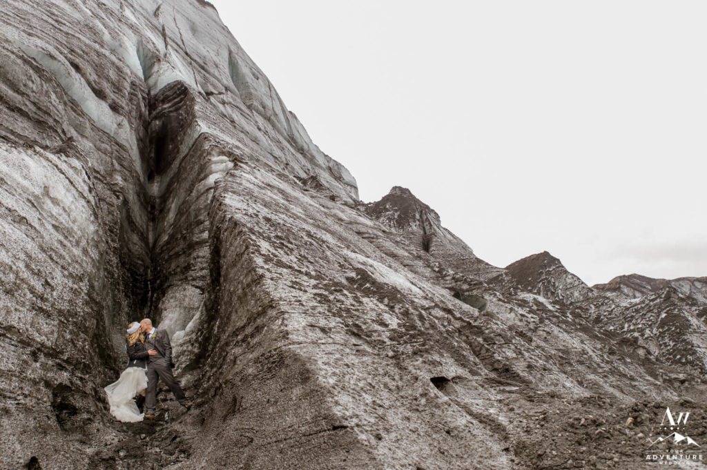 Iceland Elopement Couple inside Crevasse Ice Cave
