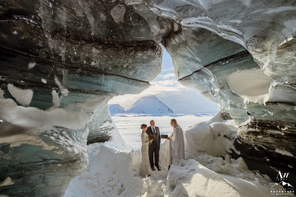 How to plan an ice cave wedding ceremony couple inside