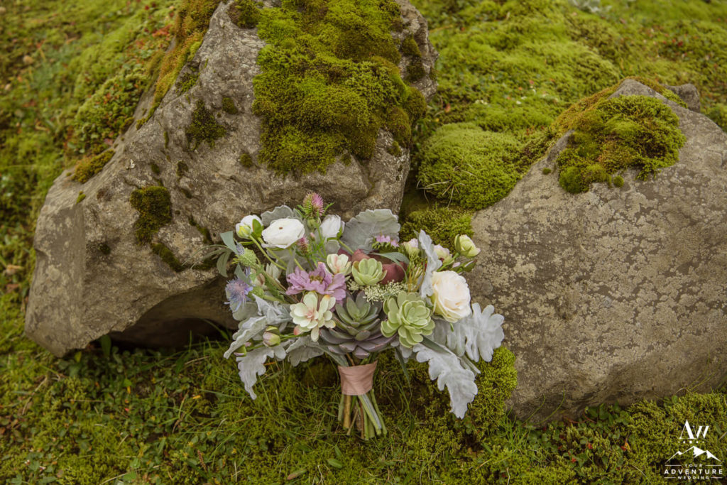 iceland Wedding Bouquet on Moss Rock