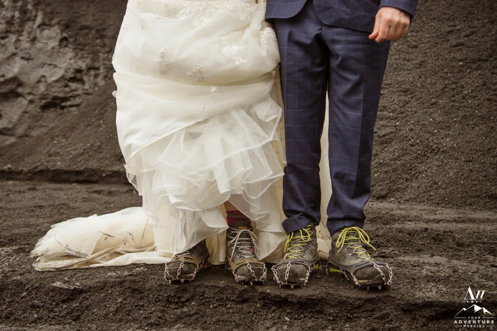 Iceland Wedding Couple Wearing Crampons