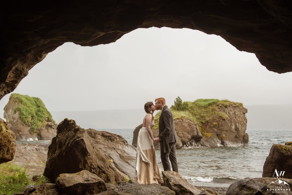 Couple Kissing inside of Cave at Lake Kleifarvatn