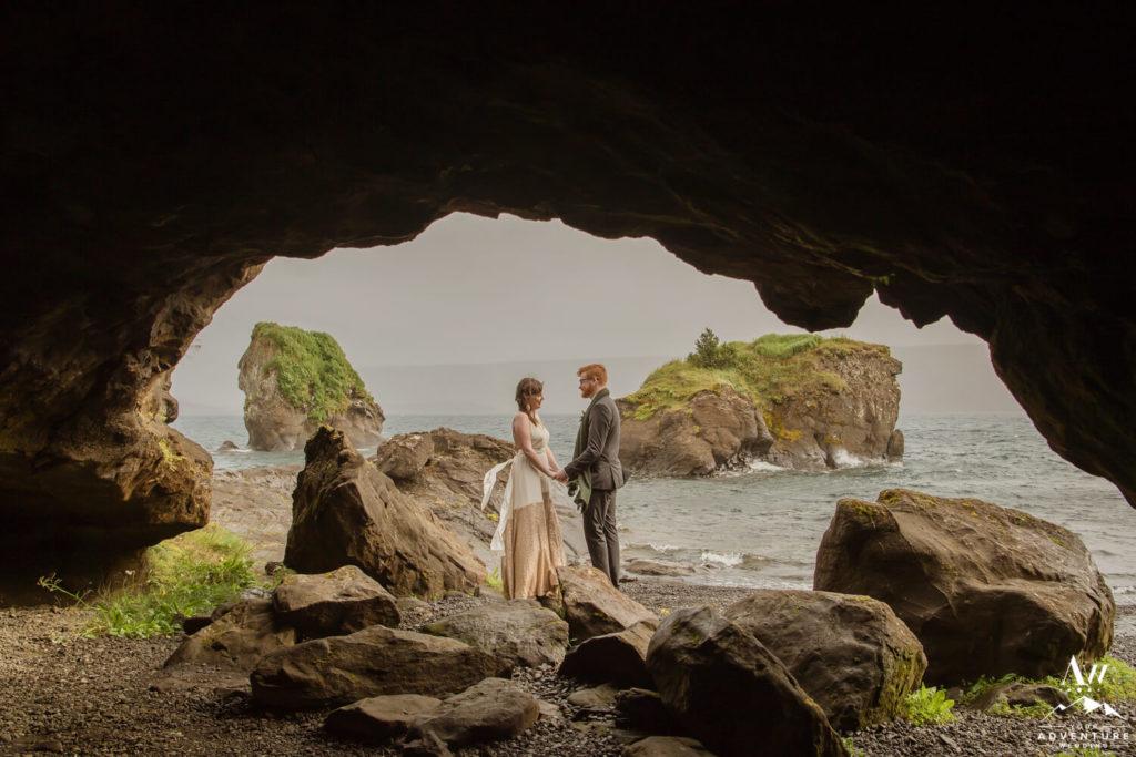 Iceland Wedding Couple at Lake Kleifarvatn Cave