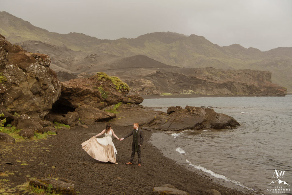 Iceland Wedding Couple dancing in front of Lake Kleifarvatn