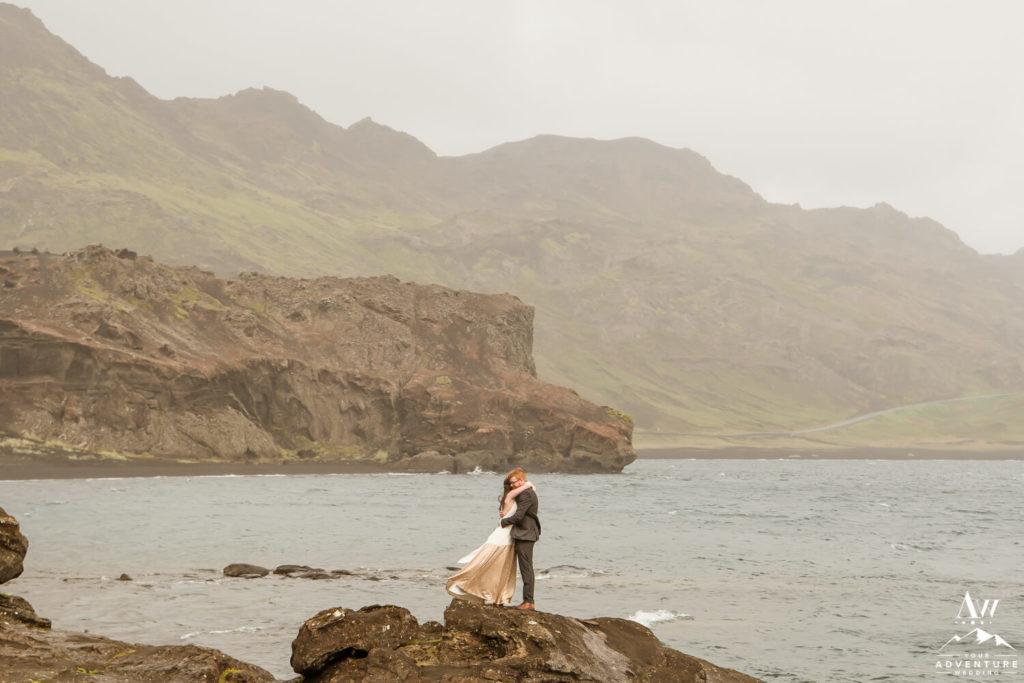 Iceland Wedding Couple Kissing at Lake Kleifarvatn