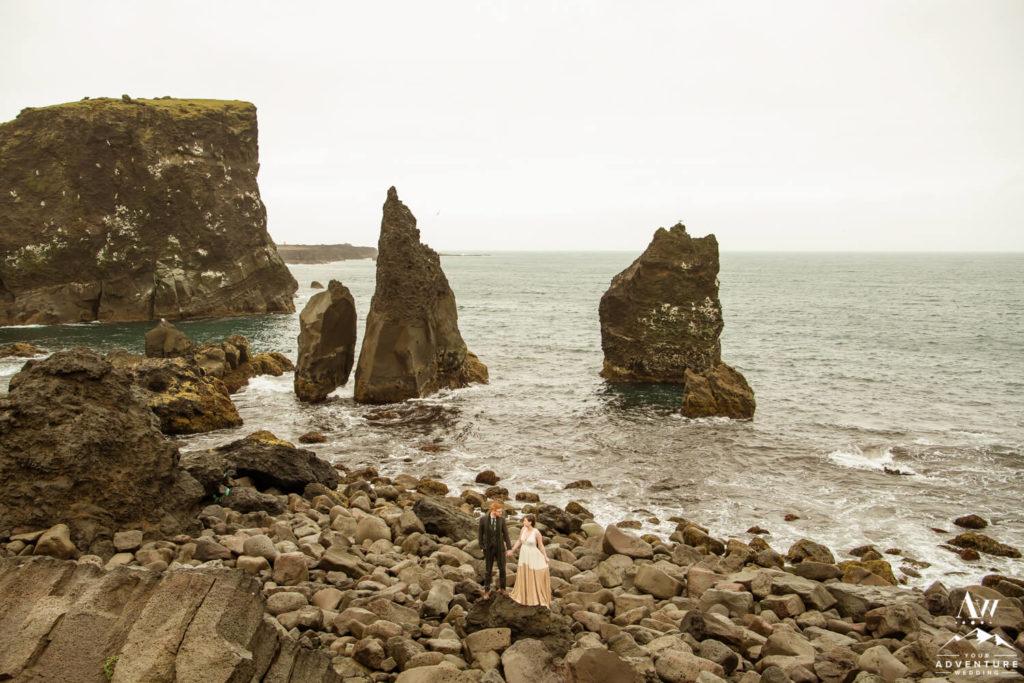 Reykjanesviti Wedding Couple in front of sea stacks