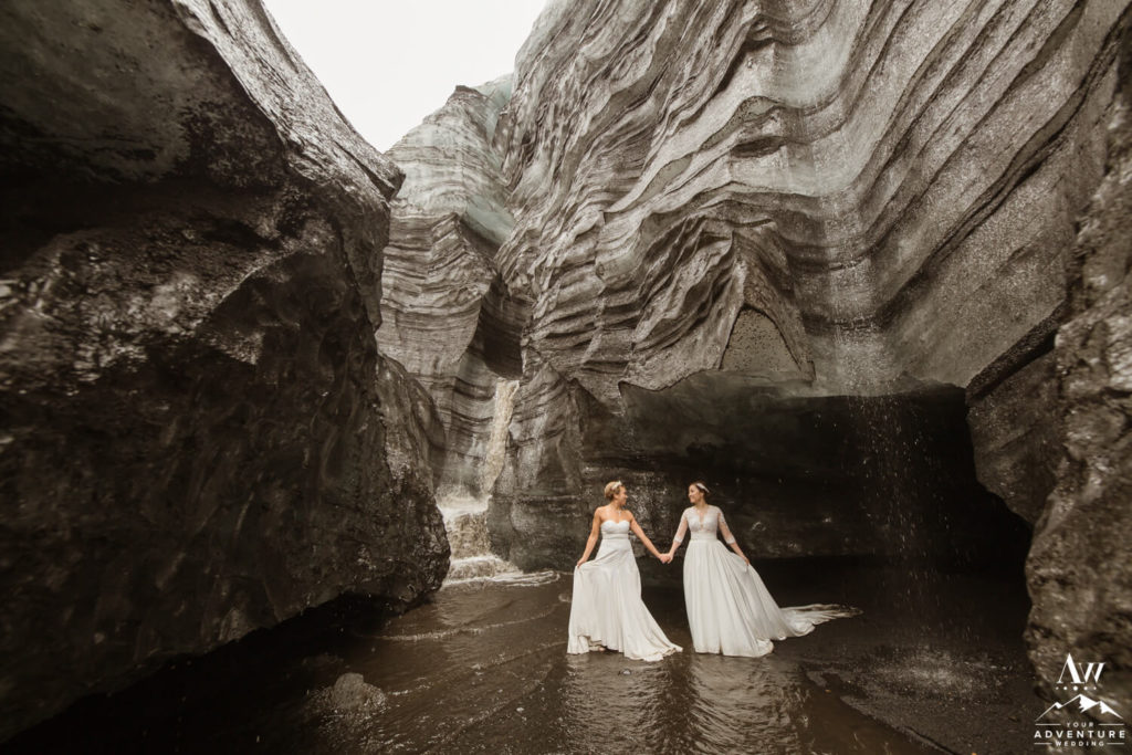 Southern Iceland Wedding 2 Brides at a Glacier