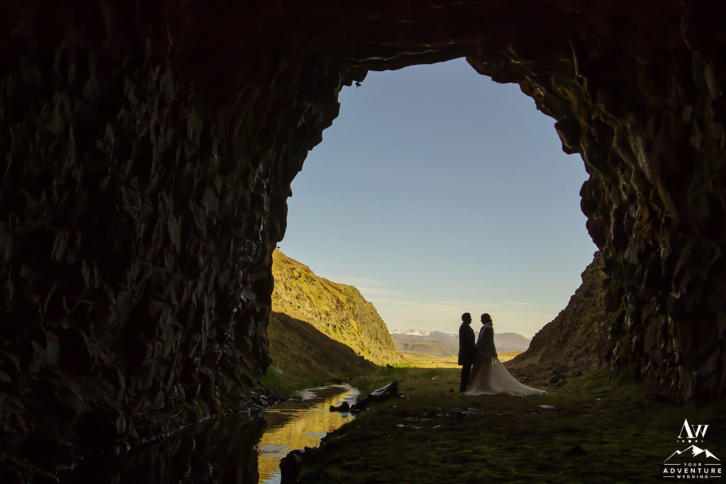 Iceland wedding couple inside natural cave