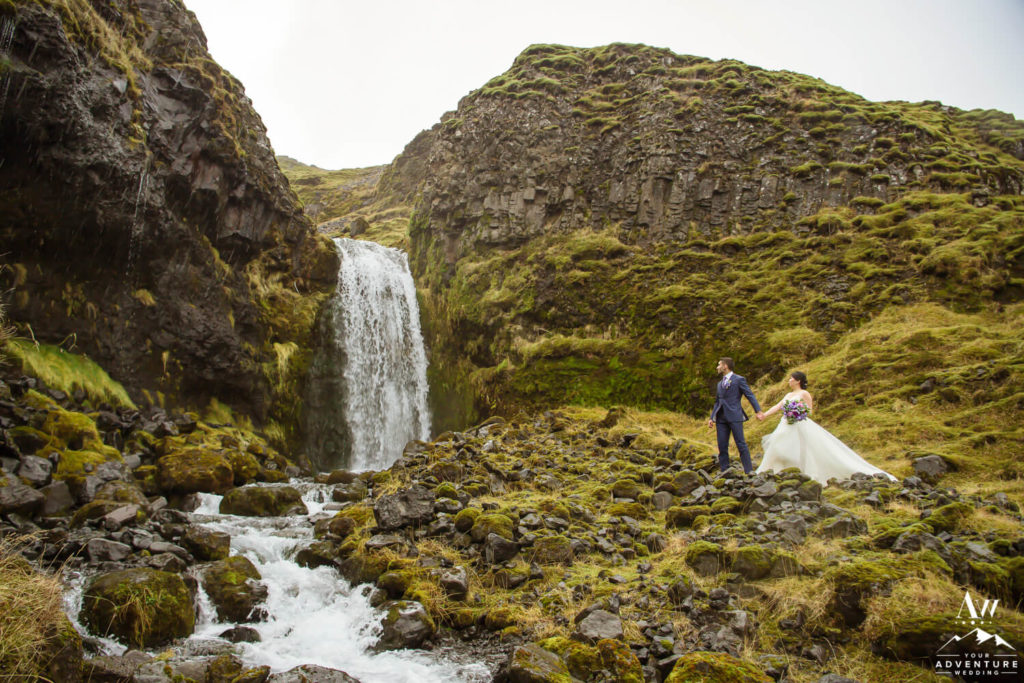 December Elopement in Iceland at a Waterfall