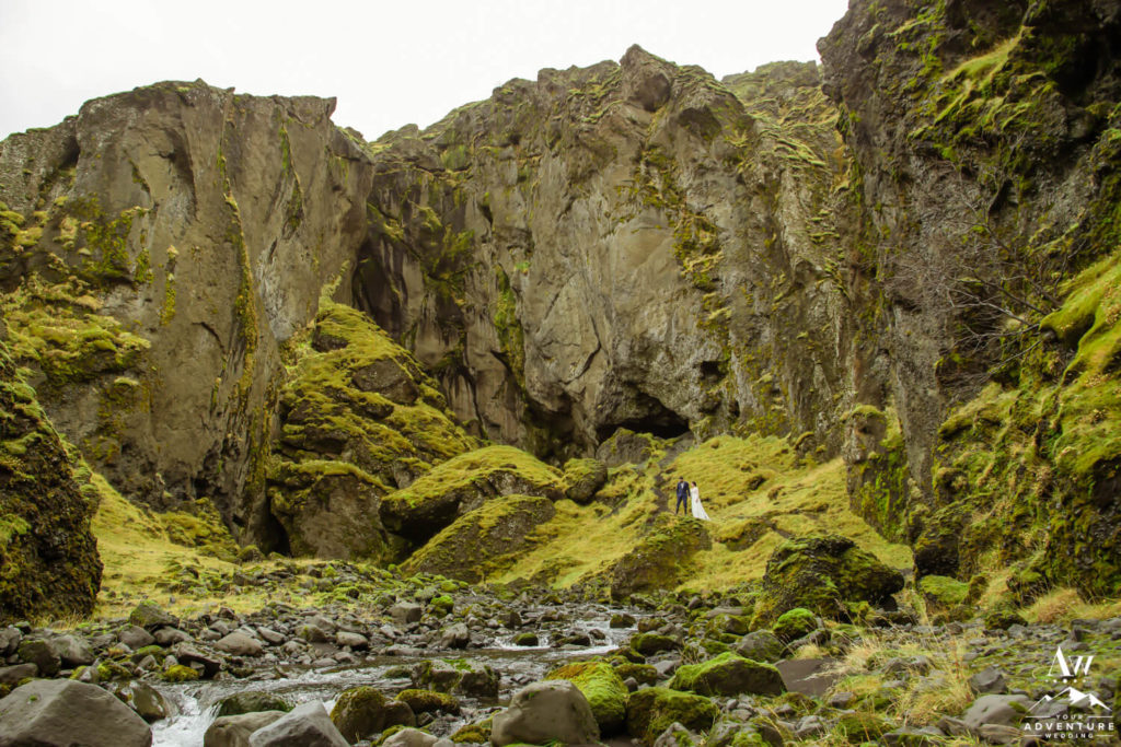 Canyon in Iceland and Wedding Couple inside