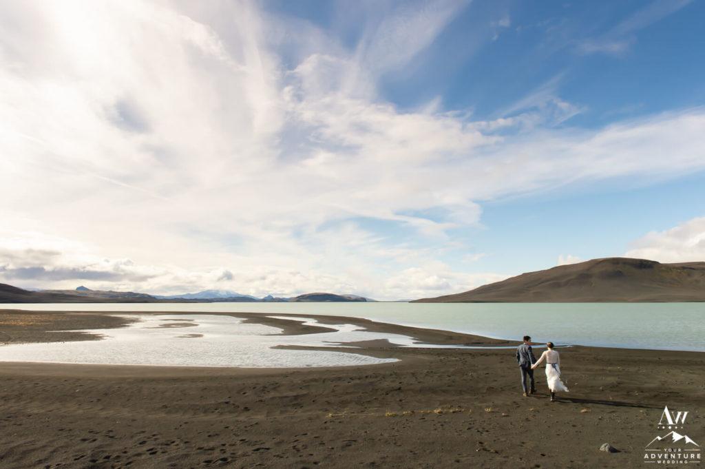 Iceland wedding couple on a black beach