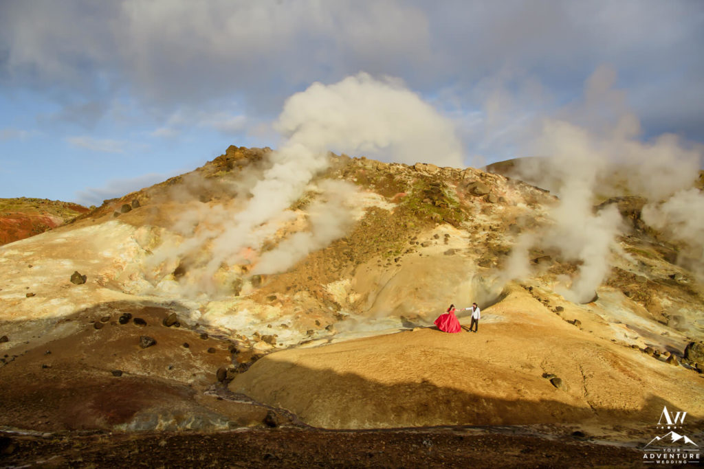 Iceland Wedding Couple in Geothermal area