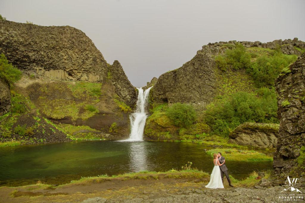 Iceland Wedding Couple at Gjian Waterfall