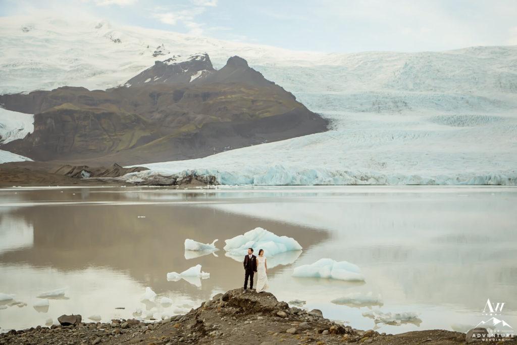 Iceland wedding couple at glacier lagoon