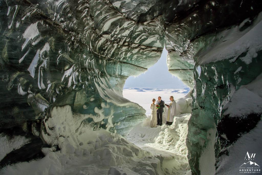 Ice Cave Wedding Ceremony in February