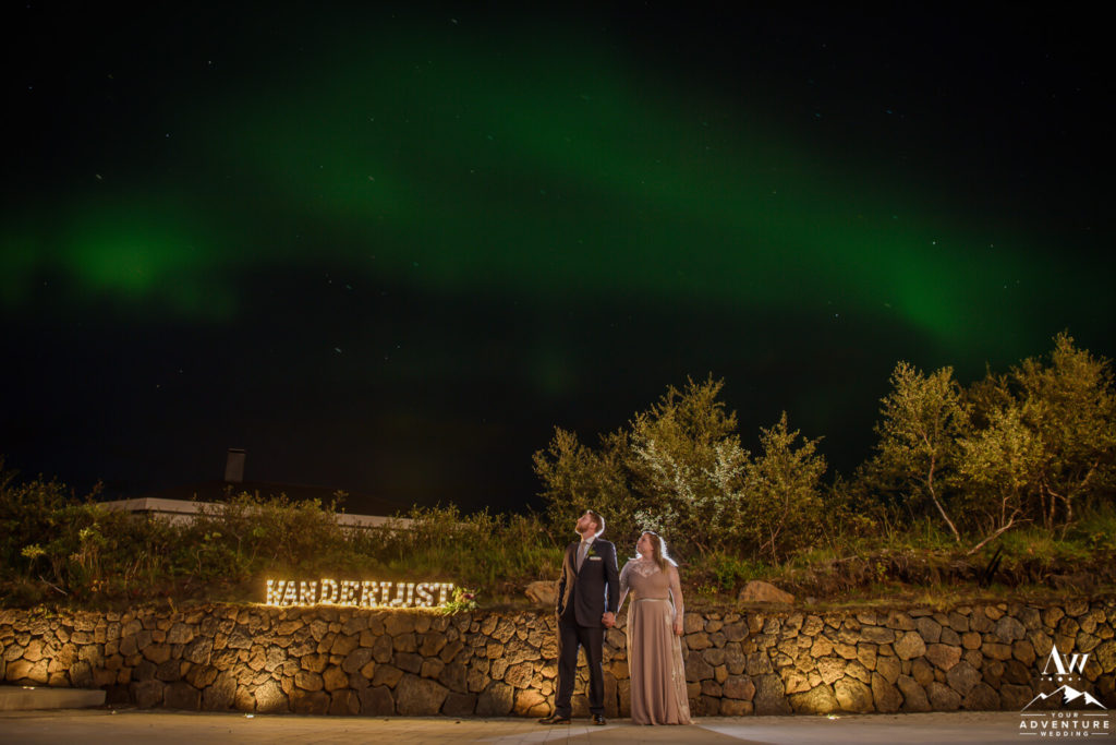 Iceland Elopement Couple under the northern lights