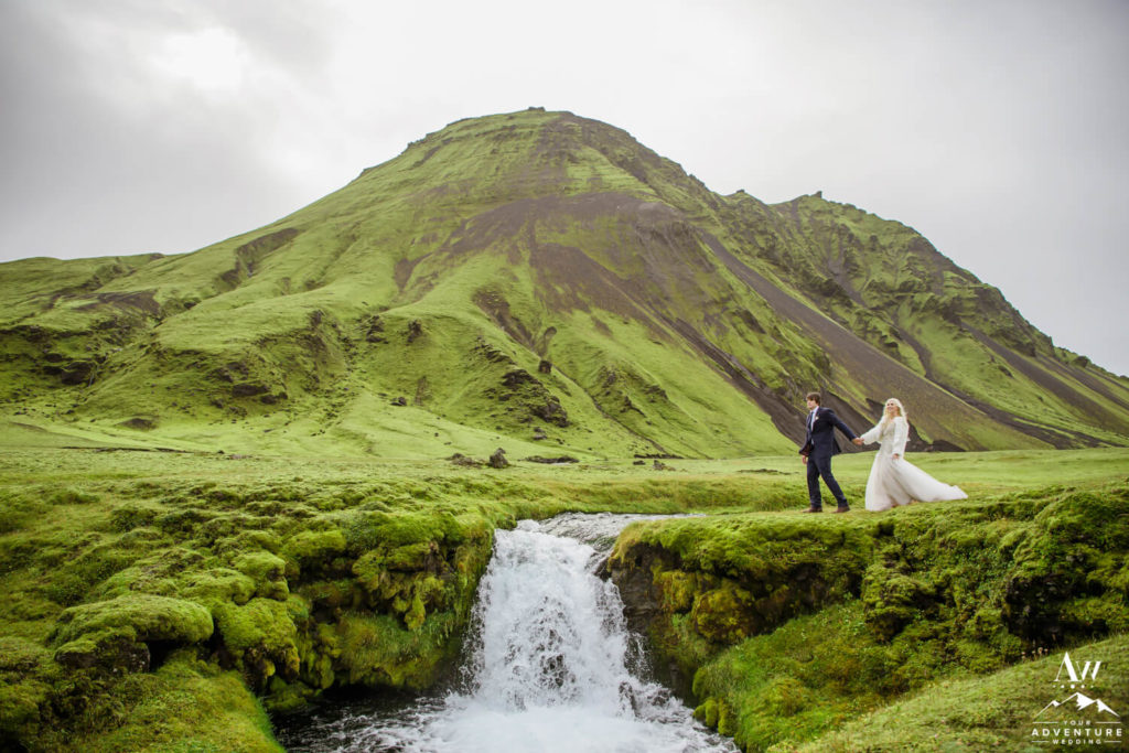 Adventure Elopement Couple at an Iceland Waterfall