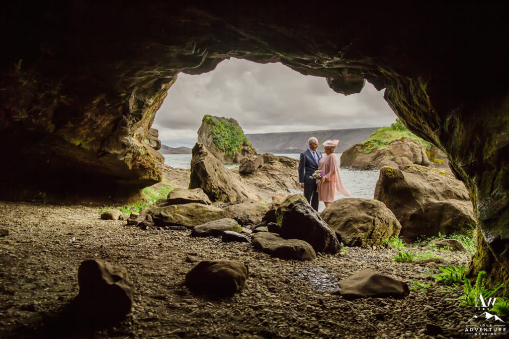 Iceland Elopement Couple in a cave