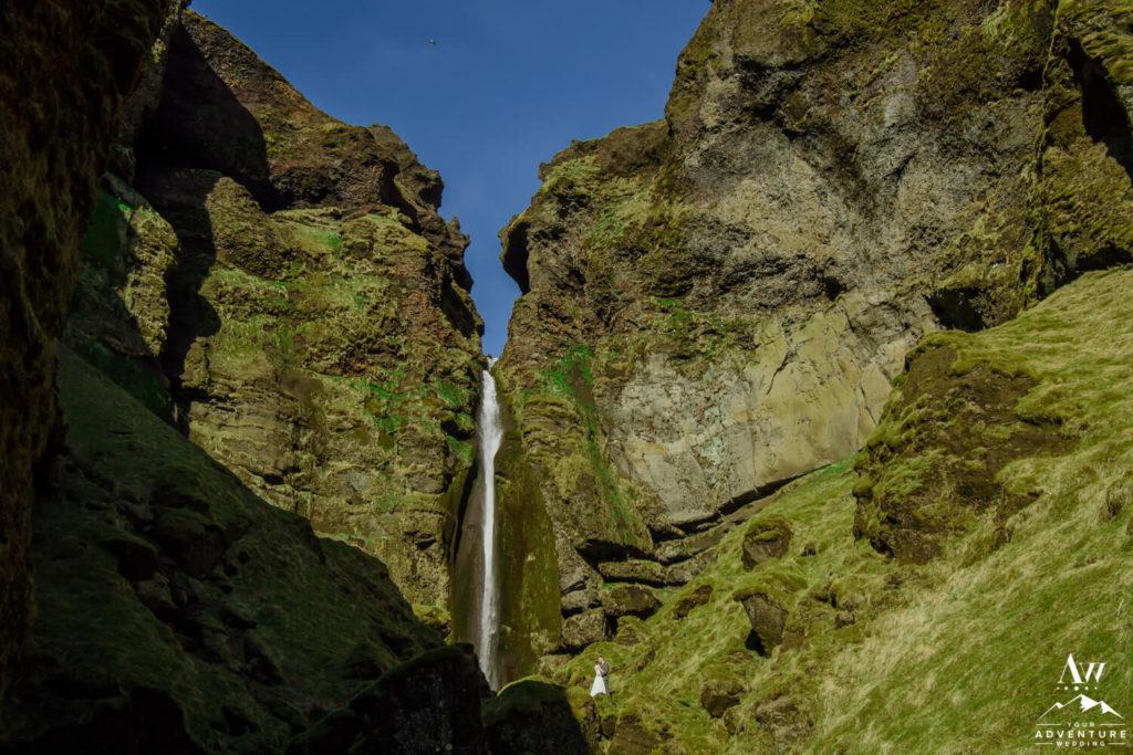 Waterfall Wedding Couple in Iceland