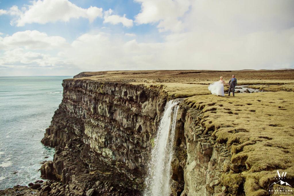 Cliffside Waterfall in Iceland