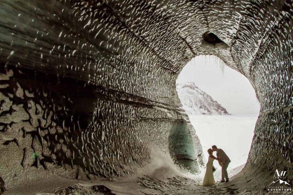 Ice cave wedding couple