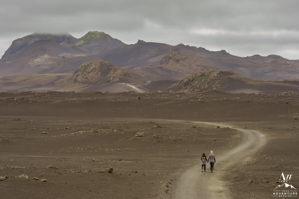 Iceland Wedding Couple Walking in the Highlands