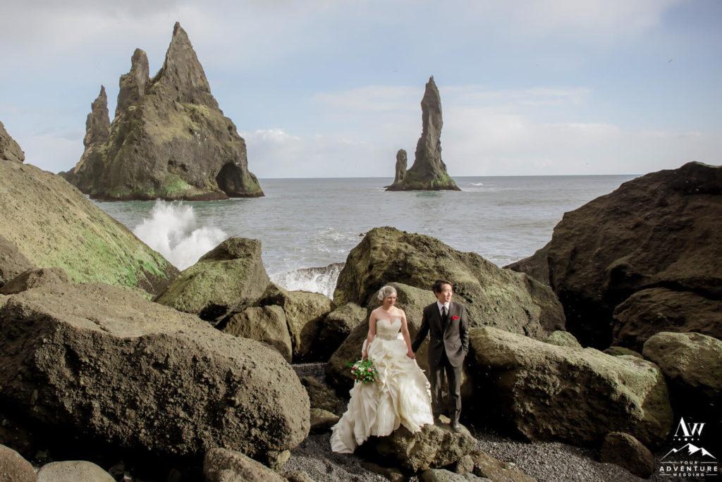 Iceland wedding couple at Reynisfjara