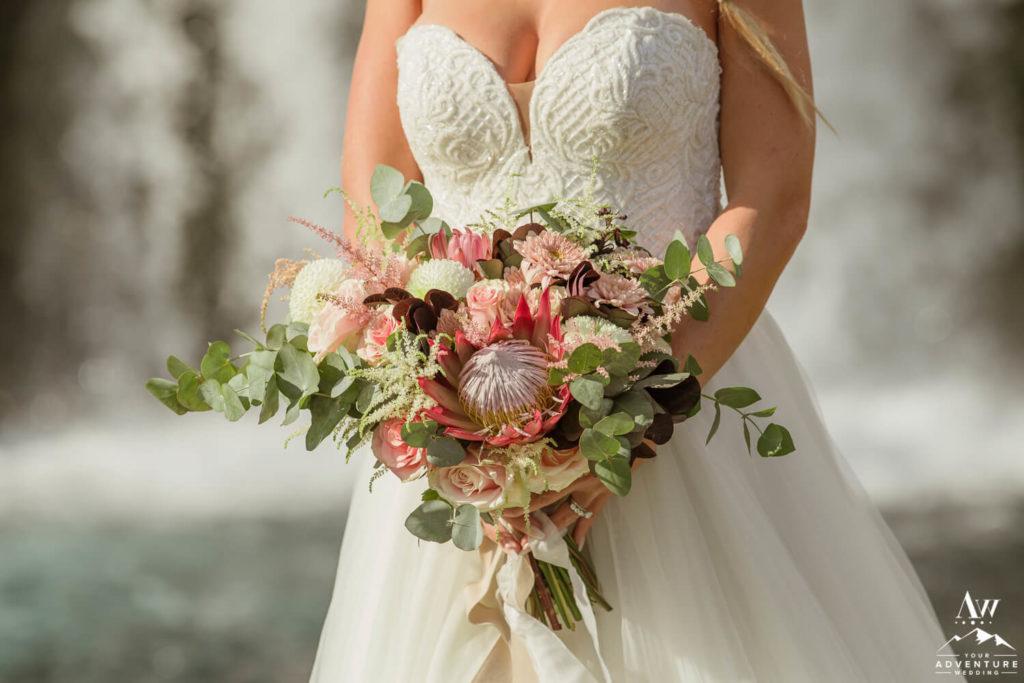 Bride holding Iceland Wedding Bouquet
