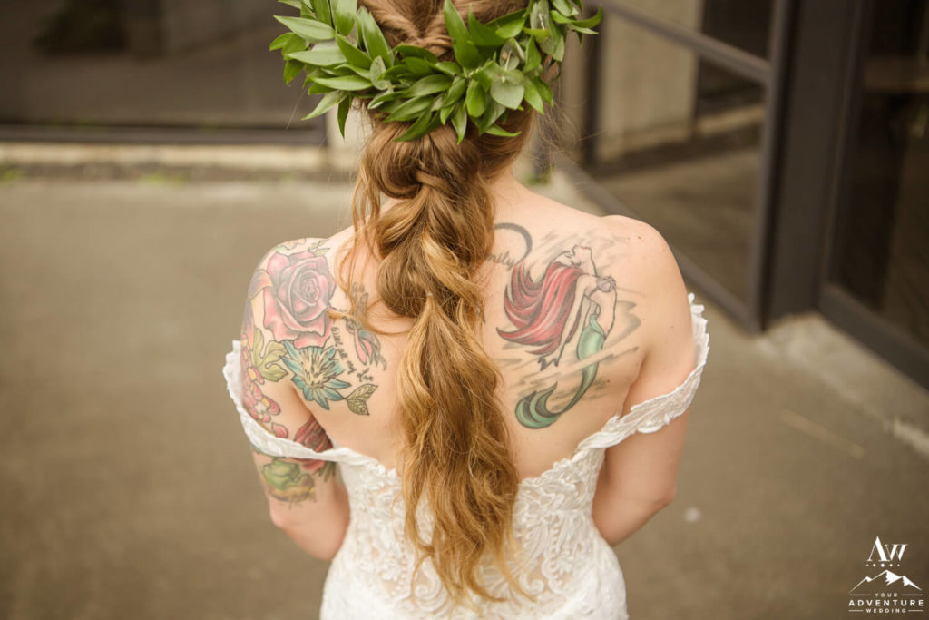 Back of Iceland Boho Bride with crown