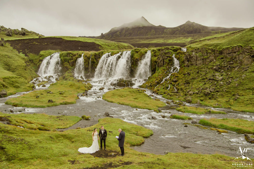 Iceland Wedding Couple at Waterfall Ceremony