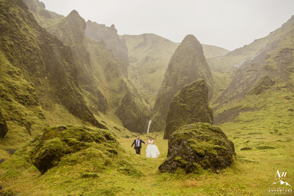Fall Iceland Wedding couple running