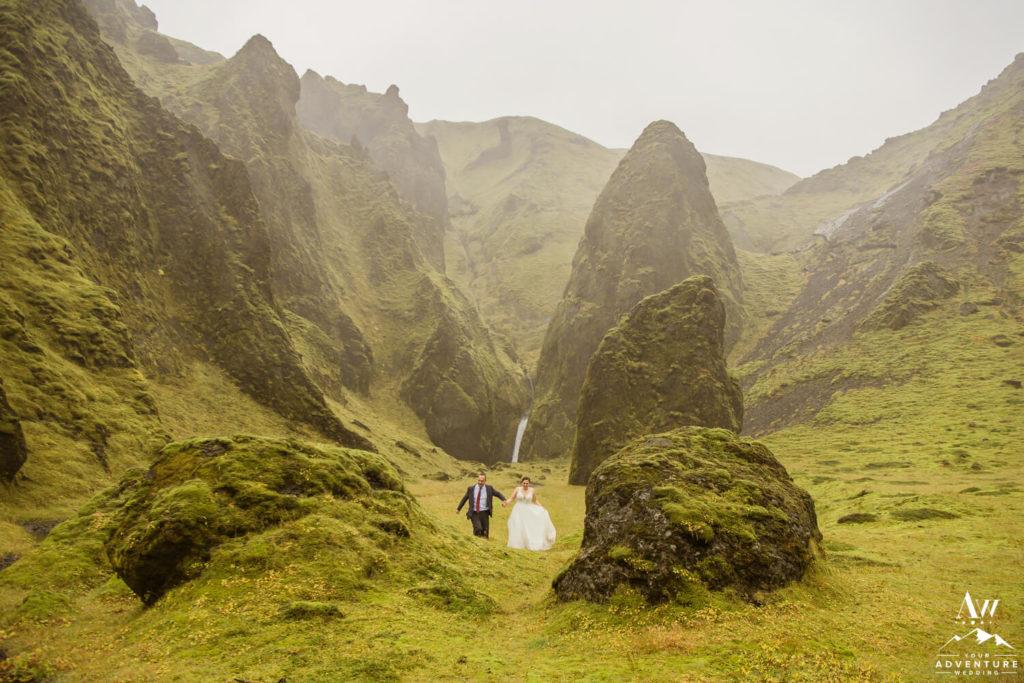 Fall Iceland Wedding couple running