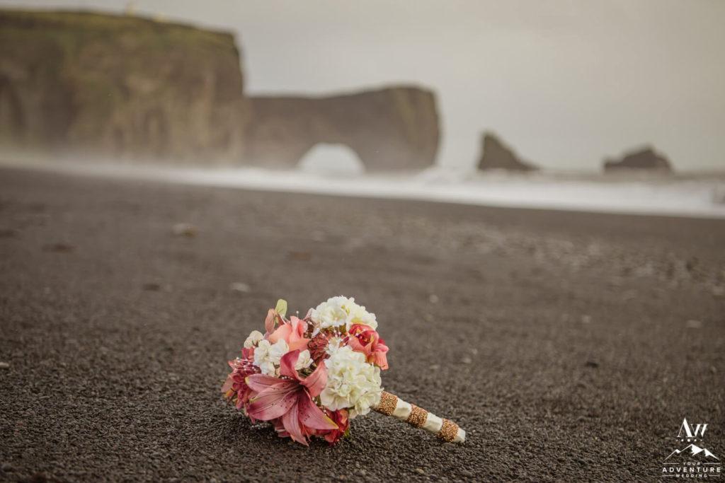 Iceland wedding bouquet on black beach