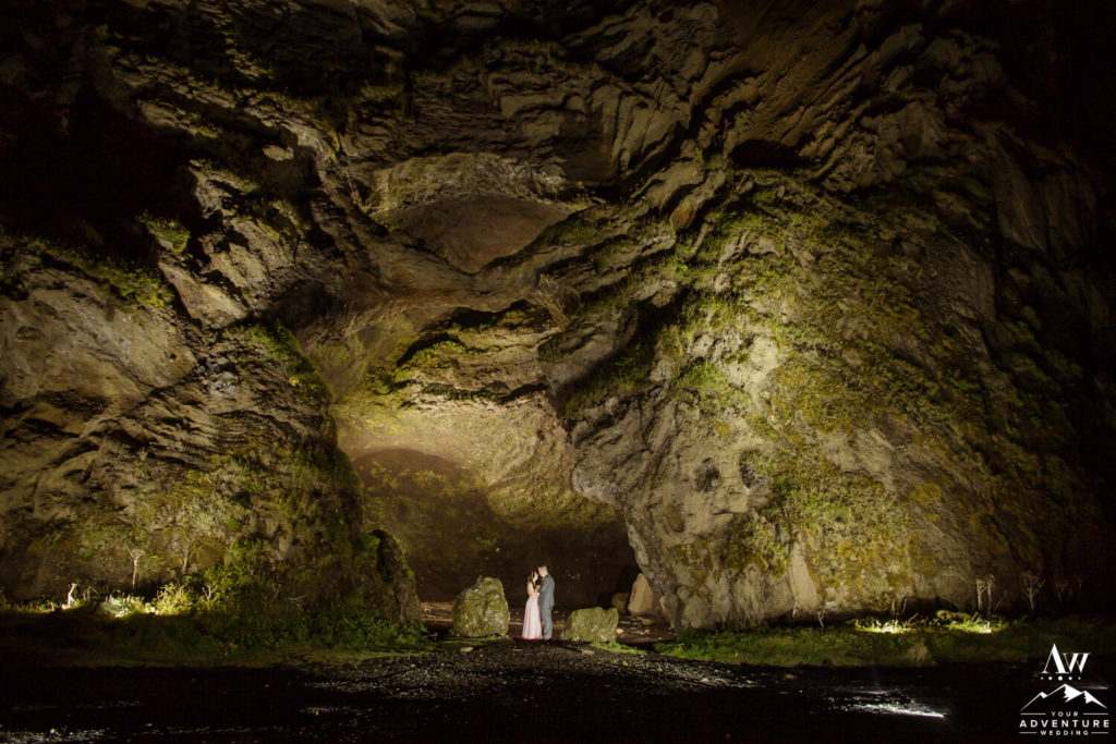 Iceland Cave with Wedding Couple at Night