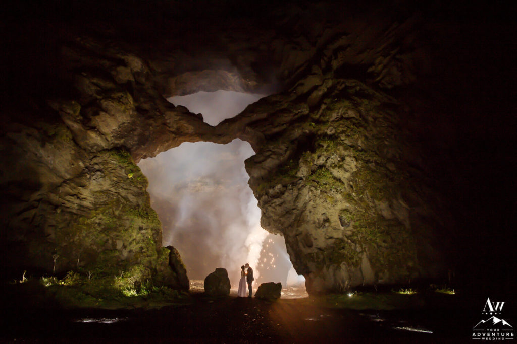 Nighttime Iceland Wedding Photo in a Cave