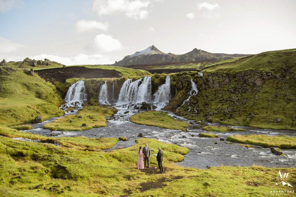 Waterfall Wedding Ceremony in Icelandic Highlands