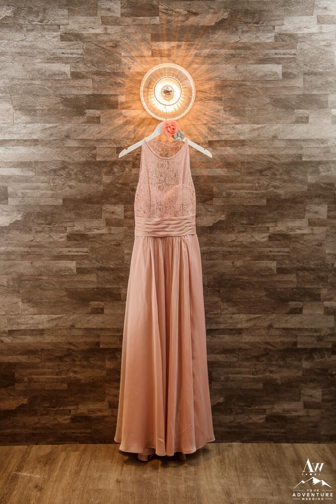 Iceland Wedding Dress in Pink Hanging